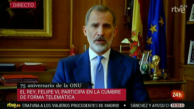 Felipe VI participa en la cumbre de la ONU por su 75 aniversario:  «Resulta difícil imaginar cómo sería el mundo hoy sin…