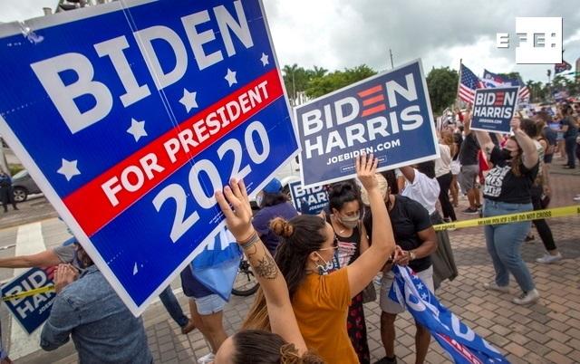 Hispanos del sur de Florida (EE.UU.) se congregaron en Miami para festejar a ritmo de salsa el triunfo del candidato dem…
