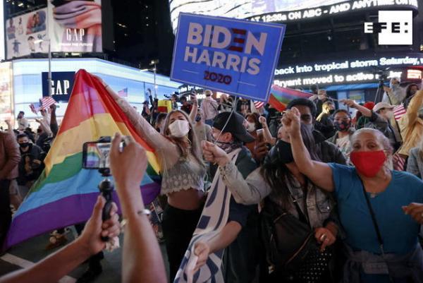 CRÓNICA | La comunidad LGTBQ, de fiesta por la victoria de Joe Biden y Kamala Harris. #Election2020   Por @JavierRomuald…