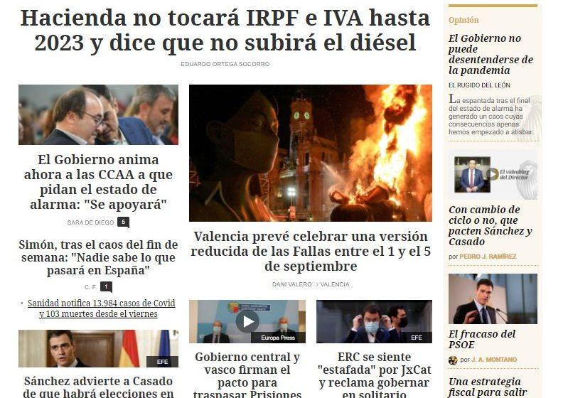 #EnPortada | Hacienda no tocará IRPF e IVA hasta 2023 y dice que no subirá el diésel  …